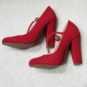 Shoe Republic LA  Red Heels with Straps